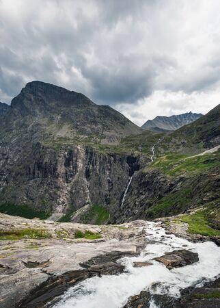 Norway waterfall in summer. Norwegian beautiful nature and nordic typical mountain landscape in Trollstigen Zdjęcie Seryjne