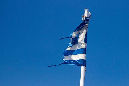 the european economic community: ragged flag Greece Stock Photo