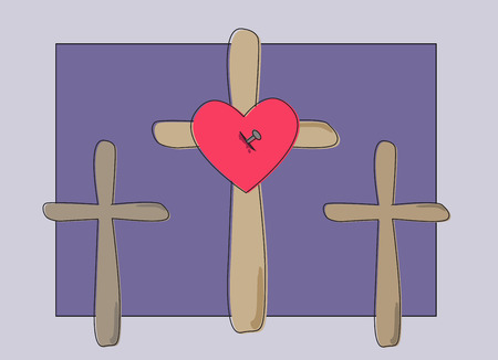 stigmata: Three wooden crosses on dark blue grey background, nailed heart of Jesus Christ