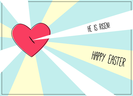 Happy Easter card with pierced heart of Jesus Christ and rays Illustration