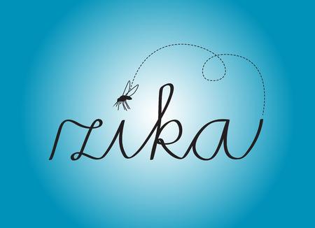 medicine background: Illustration of Zika virus with flying mosquito on blue background