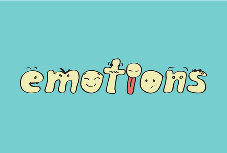 "Letters of word ""emotions"" with expressions of feelings"