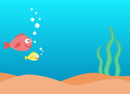 underwater fishes: Colorful underwater background, undersea world with fishes and seaweed with place for text
