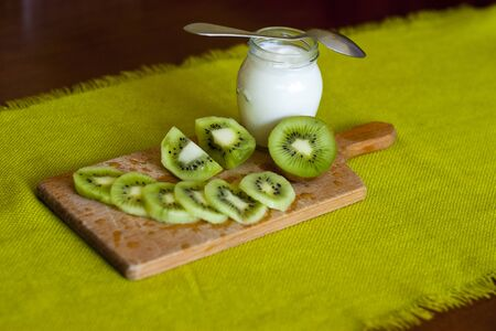healthy snack: Healthy nutritious snack or breakfast on wood and green background