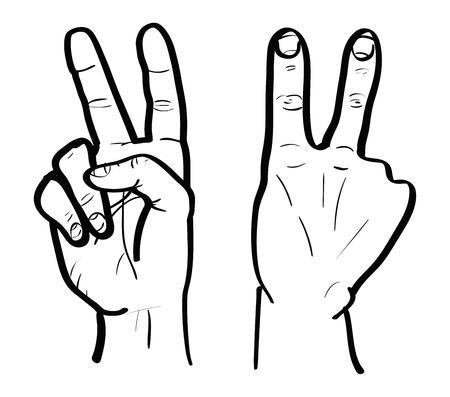 clipart wrinkles: Outiline of hand gestures from front and back side Illustration