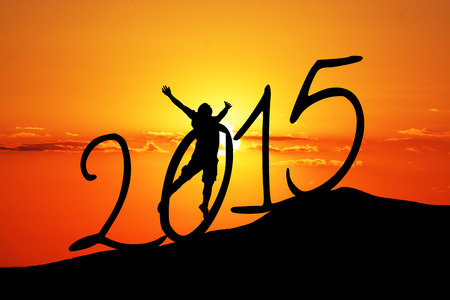 new year  silhouette on the hill and  a man photo
