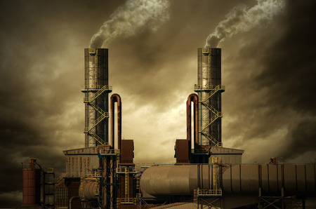 thermal pollution: Smoking stacks of the Factory Stock Photo