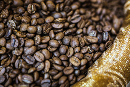 large bean: brown coffee beans, background texture Stock Photo