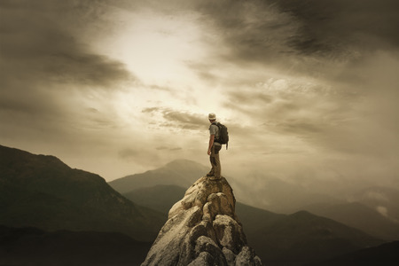 motivate: The Man on the Summite Stock Photo