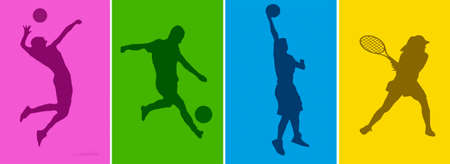 football silhouette: Sport silhouettes background