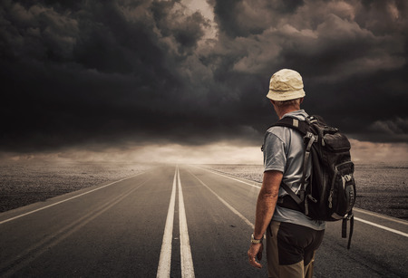 Concept of Man follows the right way photo