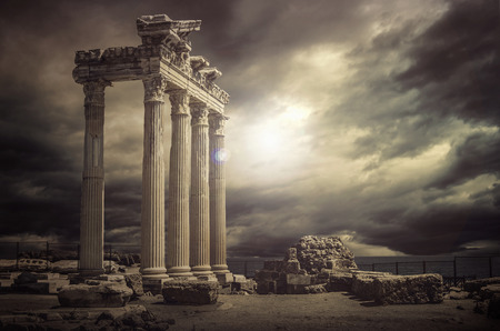 greek gods: Apollon Temple Ruins Antalya,Turkey Stock Photo