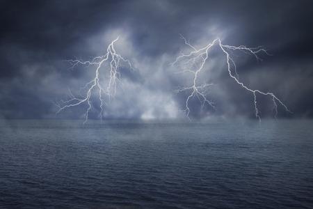 lightnings: lightnings in dark sky and sea