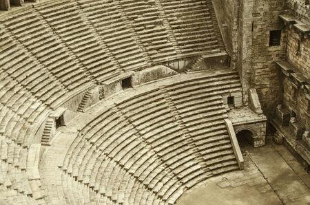 amphitheater: Ancient amphitheater Aspendos in Antalya, Turkey. Stock Photo