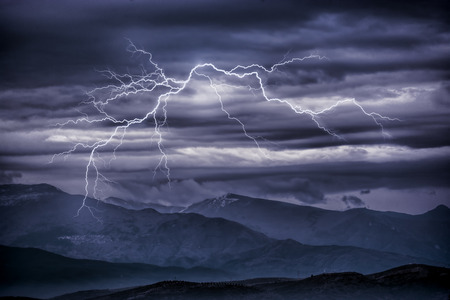 Thunderbolts over mountains