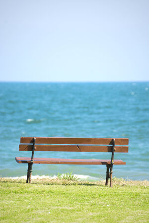 blue wooden bench photo