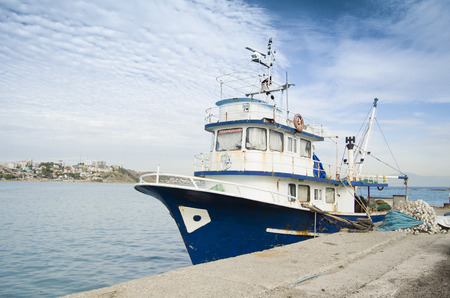 commercial fishing: Blue Fishing boat
