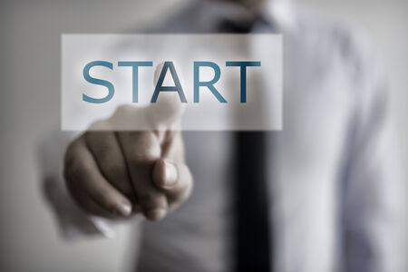 kickoff: Start Button Stock Photo