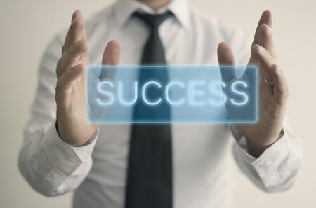 strategic focus: The man holds success text