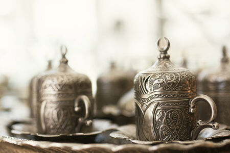turkish coffee: traditional turkish coffee on table at cafe Stock Photo