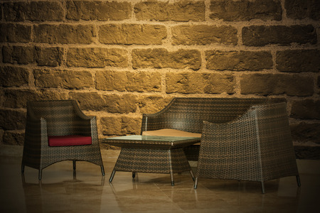 Brick wall and furniture Decoration photo