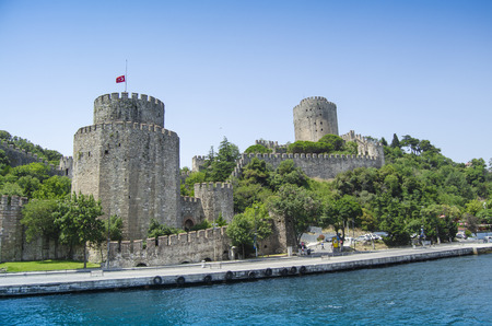 rumeli: One of the towers of Rumeli Fortress overlooks the Bosphorus Strait in Istanbul, Turkey. Editorial
