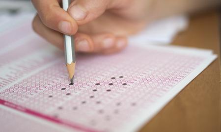 Exam carbon paper and pencil Standard-Bild