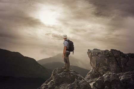 high mountain: To be on the top of mountain