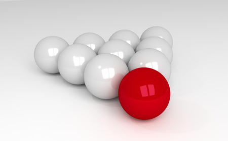 Unique red ball leader in crowd of white other spheres