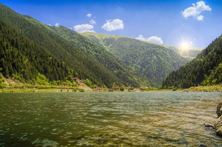 long lake: green water lake in forest,long lake,Trabzon,Turkey Stock Photo
