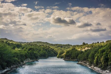 green river: Green river with great clouds