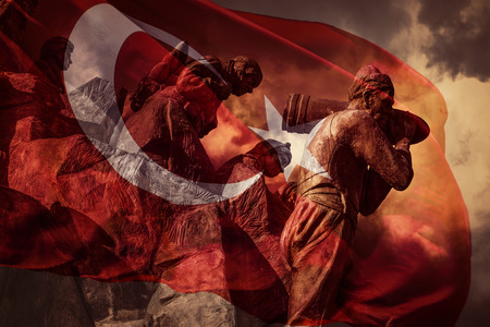 ancient soldiers: Great Turkish flag Stock Photo