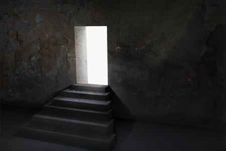 upstairs: Open door and upstairs in a dark room with light outside