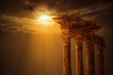 Temple of Apollo on Sunset Stock Photo