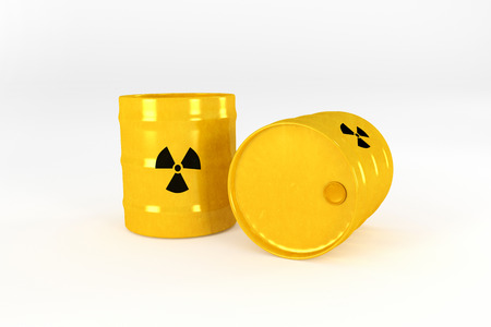 radioactive: Yellow Radioactive barrels Stock Photo
