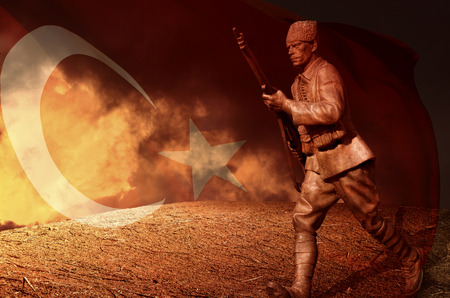 man in the moon: Great Turkish flag Stock Photo