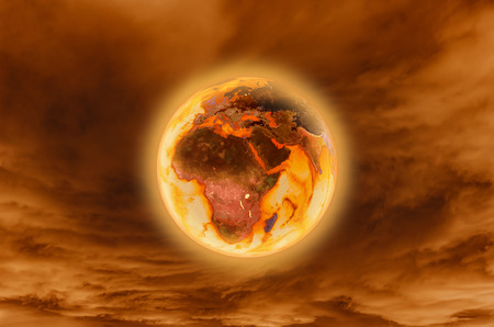 hemisphere: Burning earth -Global Warming Concept (elements furnished by NASA) Stock Photo