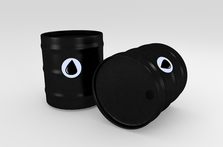 opec: Black oil barrels isolated on white