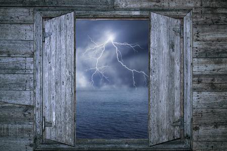 lightning strike: Lightning bolt at night Stock Photo