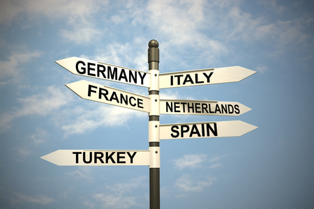 Europe Countries and  signpost against blue sky