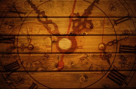 wood tick: wall clock on wooden background