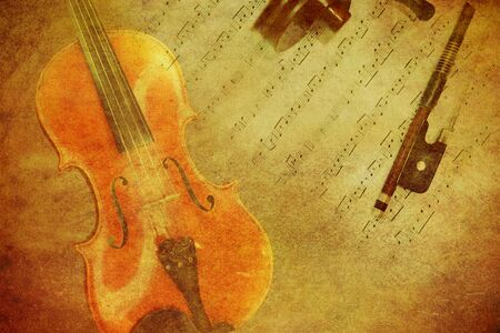 paper texture: Classic violin on grunge paper texture.