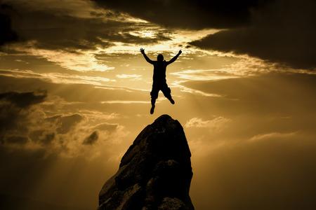 felicidad: Silueta de Éxito