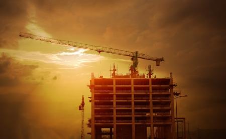 career job: Construction site at sunset Stock Photo
