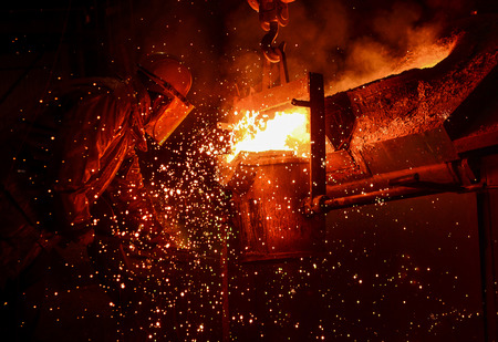 red hot iron: Steel Factory, Melting Iron
