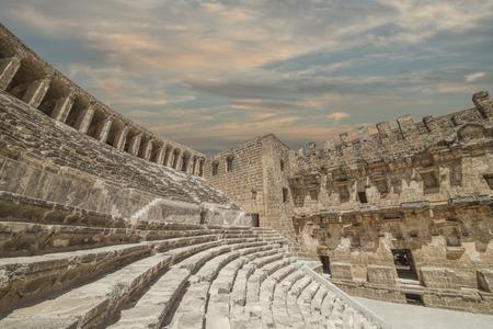 archaeology: Old amphitheater Aspendos in Antalya, Turkey - archaeology background