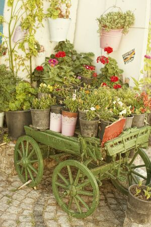 carreta madera: Carro viejo verde de madera llena de flores