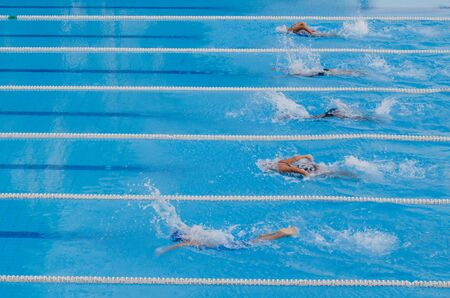 dampen: swimming competition,the start jump
