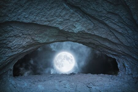 eyes cave: full moon at night time view from blue cave