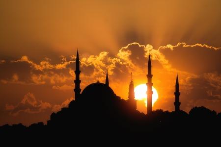 sunset: Suleymaniye Mosque Istanbul Turkey